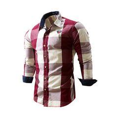 21672d03b1c Casual Cotton Mixed Colors Long Sleeve Big Plaid Designer Shirt For Men  Clothes For Big Men