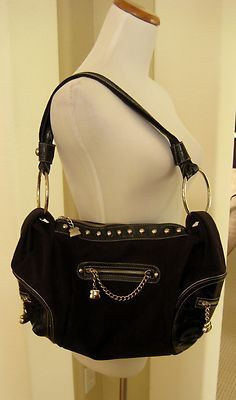 297e6b1d8fd4 Kathy Van Zeeland Black Handbag Purse Faux Suede Shoulder Bag