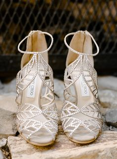 Sparkly Jimmy Choo wedding shoes   Diana and Gerry's fun-filled rustic elegance vineyard wedding in California   Photography: Rebecca Yale   See the full wedding: http://www.xaazablog.com/fun-filled-vineyard-wedding-by-rebecca-yale-photography/
