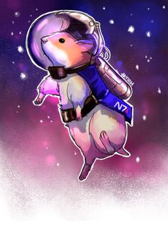 Shepard's Hamster with a space helmet on by Sky Ham. Mass Effect Tattoo, Mass Effect Art, Thane Krios, Mass Effect Universe, Commander Shepard, Stuff And Thangs, Black Canary, Dragon Age, Guardians Of The Galaxy
