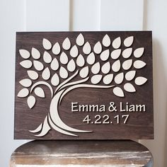 This Listing is for a Wedding Guest Book for Signing. Your guests sign the hearts and then you are able to hang this beautiful wall art keep sake to enjoy for years to come.   Materials and Process. The Leaves, tree and wedding name and date are laser cut from 1/8 Baltic Birch plywood, the background is also Baltic birch plywood. The Background is hand stained and the leaves tree and wedding name and date are left in there natural color. Once the desired finish is achieved the leaves, tr...