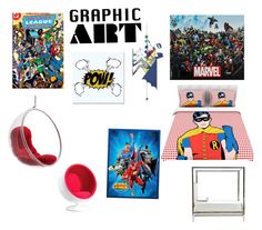 """""""Graphic Art Superheros"""" by that-leaping-gazelle-brianna ❤ liked on Polyvore featuring interior, interiors, interior design, home, home decor, interior decorating, Universal Lighting and Decor, Monde Mosaic, Bernhardt and Zuo"""