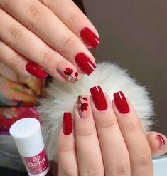 36 Gorgeous Red Nail Art Designs Just For You Shellac Nails, Pink Nails, Nail Polish, Acrylic Nails, Nail Nail, Red Nail Designs, Acrylic Nail Designs, Cute Nails, Pretty Nails