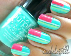 minted nail art | Mint Geometric Goodness nail art by Cubbiful