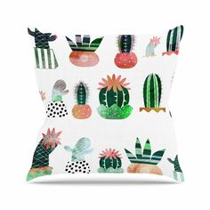 "Bruxamagica ""Cactus"" White Green Illustration Outdoor Throw Pillow from KESS InHouse"