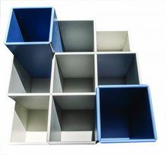 Hangende boekenkast met diepteverdeling - ABC Quadrant - Designkasten - Kasten - Lundia