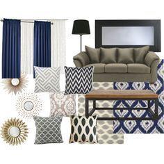 Living Room Color Scheme: Sage Green & Navy Blue | Modern Martha