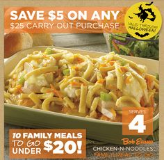 BOB EVANS $$ Reminder: Coupon for $5 off Any $25 Carry Out Purchase – Expires TODAY (10/31)!