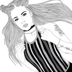 girl drawing black and white Tumblr Outline, Outline Art, Outline Drawings, Cute Drawings, Girl Drawings, Drawing Sketches, Tumblr Girl Drawing, Tumblr Art, Tumblr Girls