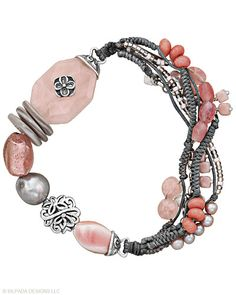 Pink soapstone, rose quartz, pearl, shell, and .925 sterling silver bracelet;  Silpada, of course!