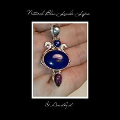 "★SALE★BLUE LAPIS & AMETHYST 925 SS NECKLACE NEW BLUE LAZULI LAPIS & AMETHYST 925 STERLING SILVER NECKLACE Metal Type.                      925 Sterling Silver Primary Stone.                Lapis Stone Wt.                          14.6 gm Size.                                   1 5/8"" Color.                                  Blue Sec. Stone.                        Amethyst Beautiful LAZULI LAPIS matched with AMETHYST set in 925 Sterling Silver. Matches any one of rings displayed. Not included…"