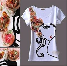 forever 21 vests, asos t-shirts, design t-shirt, SLLSKY Boutique Design Handmade Flower Applique Short Sleeve Women Summer T-Shirt White Colour - Fashion Gallery of OASAP. Hand Painted Dress, Painted Clothes, Colorful Fashion, Diy Fashion, Diy Tops, Crochet Shirt, Boutique Design, Fashion Gallery, Kids Fashion