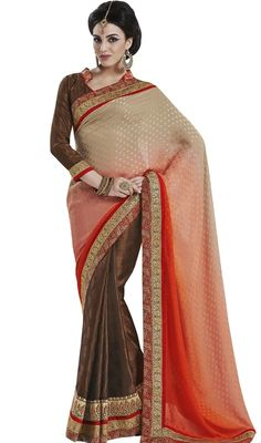 Let your presence be like the sunshine in a cloudy day with this brown, pink and cream shade jacquard half n half sari. The fantastic sari creates a dramatic canvas with astounding lace and resham work. Upon request we can make round front/back neck and short 6 inches sleeves regular saree blouse also. #FancyJacquardThreeShadesSari