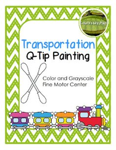 This Transportation Q-tip or cotton swab painting set is great for working on fine motor skills with your preschool or kindergarten students in a fun way. The set includes 9 color pages and 9 black line pages with clip art. Vehicle images include airplane, boat, car, helicopter, ice skates, jet, rocket, train, unicycle.This set is also included in my Transportation Bundle:Transportation Bundle