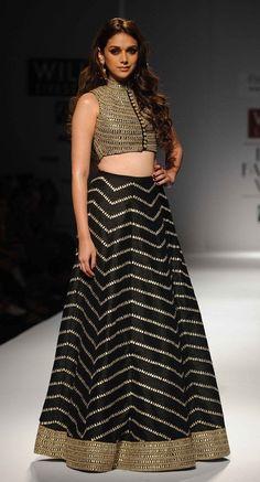 Aditi Rao Hydari in Black Lehenga Choli Bollywood Lehenga, Lehenga Choli, Bollywood Fashion, Anarkali, Bollywood Style, Bollywood Actress, Bollywood Funny, Lehenga Skirt, Lehenga Blouse