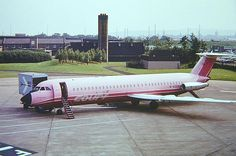 "Court Line BAC 111-517FE One-Eleven G-AZEB ""Halcyon Bay"" getting ready at Glasgow-Abbotsinch, circa 1974. (Photo: Martin Stephen)"
