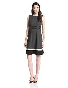 aa9de06f40 Calvin Klein Women s Fit-And-Flare Color-Block Dress