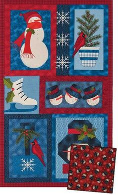 Snow Folk Wall Quilt Snowmen Easy Christmas Panel Quilt Kit - product images  of