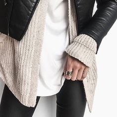 "BASE COLOUR | Holly Titheridge on Instagram: ""Leather and neutral knit for my Friday ✔️"""