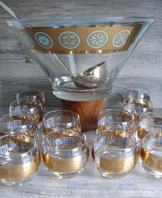 14 Pc Set Culver Gold & Turquoise Punch Bowl Ladel & 12 Rolly Polly Glasses MCM