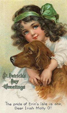 Victorian Fabric Block St Patrick's Day Irish Setter Postcard printed on fabric Vintage Greeting Cards, Vintage Postcards, Vintage Images, Vintage Retro, Vintage Graphic, Holiday Postcards, Vintage Clip, Vintage Easter, St Patrick's Day