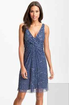 Patra Sequin Blue Beaded Mesh Sheath Dress