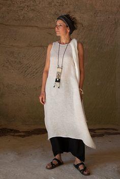 oatmeal linen gauze tunic and black mixed flax linen sarouel-skirt - AMALTHEE CREATIONS