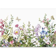 Fantastic Pics Flower Garden drawing Concepts A fast guide for flower gardening for beginners. Understand how to create a beautiful flower garden Watercolor Flowers, Watercolor Paintings, Flower Garden Drawing, Wildflower Drawing, Wall Murals, Wall Art, Flower Doodles, Photo Wallpaper, Botanical Prints