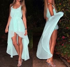 mint hi low dress