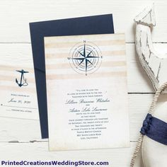 Perfect for your nautical wedding theme is this Destination Love Invitation with its pocket and nautical design. See this and many more nautical wedding invitations at www.PrintedCreationsWeddingStore.com.