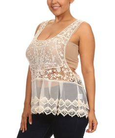 Another great find on #zulily! Ivory Lace Racerback Tank - Plus #zulilyfinds
