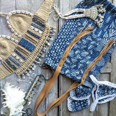 It's all about indigo right now , we like it back with tans and whites and beads and bones and seashells , a Sunday collage of some of our faves In store right now