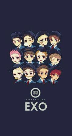 Read EXO from the story Wallpapers KPOP by PeakBoo (B O O) with 871 reads. Exo Xiumin, Kpop Exo, Wallpapers Kpop, Kpop Backgrounds, Iphone Wallpapers, Exo Fanart, Exo Cartoon, Exo Anime, Chibi Wallpaper