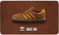 ADIDAS TOBACCO | BARK first issued in 1972 the Tobacco sneaker has become a cult classic over the years thanks to a number of fantastic colourways and fabrics. For Spring '14 Adidas present this classic style in a premium brushed suede. Produced in limited numbers these original colourways demand attention; for subtle vintage styling there is an off grey aluminium finish or a classic bark brown.