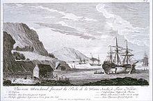 Vaisseau de pêche sur la côte française de Terre-Neuve en 1820. http://fr.wikipedia.org/wiki/Terre-neuvas