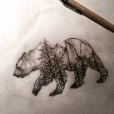 Yosemite bear by Jane Cho Outer Limits Tattoo here in Costa Mesa mountain tattoo Cute Tattoos, Beautiful Tattoos, Body Art Tattoos, Tattoo Drawings, Small Tattoos, Sleeve Tattoos, Tatoos, California Bear Tattoos, Tattoo Silhouette