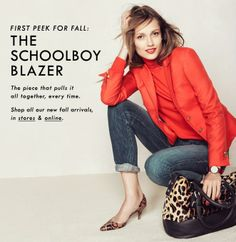 J.Crew Schoolboy Blazer in Decadent Red with leopard accessories