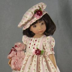 """~ OLD FASHIONED CHARM ~Pink & Cream 4 piece Dress set for Dianna Effner's 13"""" Little Darlings. The set includes the dress, muffin hat, half slip and the sweet little bear. It ends on September 17th in the evening."""