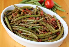 Braised green beans and tomatoes have a richness and depth that are wonderful anytime of the year.