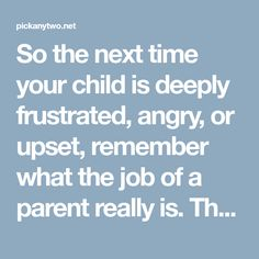 So the next time your child is deeply frustrated, angry, or upset, remember what the job of a parent really is. The job of a parent is to: Provide comfort through the frustration. Draw out our child's cleansing tears. Show empathy to our child's struggle. Allow the life lesson to be learned naturally—not through preaching. Support our child's journey through the emotional tunnel.