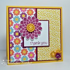 Jennifer's cute card uses Button Buddies, Made for You, & Floral District dsp.