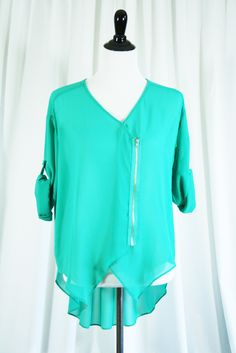 Zipper Front High-Low Top Buy online now!  At Kali Rose Boutique