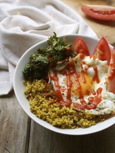 Coconut Curried Millet Pilaf with Crispy Kale, Tomato & Egg | In Pursuit of More