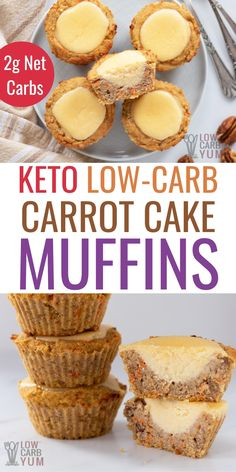 Keto carrot cake muffins with cream cheese filling! This healthy carrot cake muffins low carb recipe is an easy and delicious portable treat. Keto Dinner Recipes for Rapid Weight Loss Gluten Free Carrot Muffins, Carrot Cake Muffins, Low Carb Carrot Cake, Healthy Carrot Cakes, Low Carb Desserts, Low Carb Recipes, Dessert Recipes, Easter Recipes, Ketogenic Diet