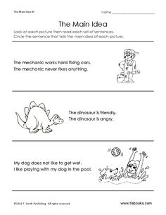Main Idea Worksheet-- good site with worksheets by grade level.