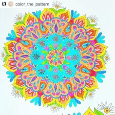 """Mental Images Coloring Books (@paivivesala_art) on Instagram: """"Happy mandala! Colored by @color_the_pattern Coloring book: Mental Images vol 1 (Amazon)"""""""