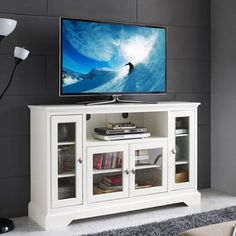 """Walmart - $353. White Highboy Style Wood TV Stand for TVs up to 55"""""""
