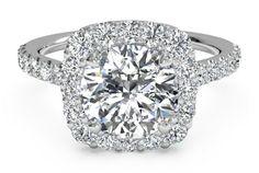 #Ritani Halo French-Set Diamond Band Engagement Ring