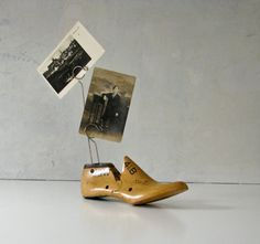 Vintage Wood Shoe Form  Repurposed Picture Holder by BeeJayKay