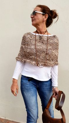 Knit capelet, women poncho, brown knit wrap, women fashion, hand made cape, hand…